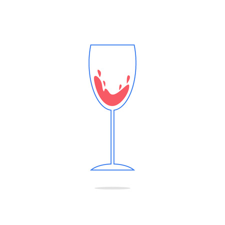 expensive food: outline simple wineglass icon with shadow. concept of weinhaus, bordeaux, wine house, aperitif, celebrating. Illustration