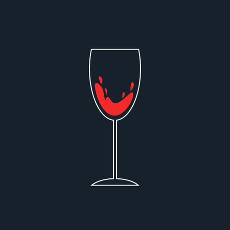 aperitif: white and red simple wineglass icon. concept of weinhaus, bordeaux, wine house, aperitif, celebrating, dinner. isolated on dark background. flat style trendy modern logo design vector illustration