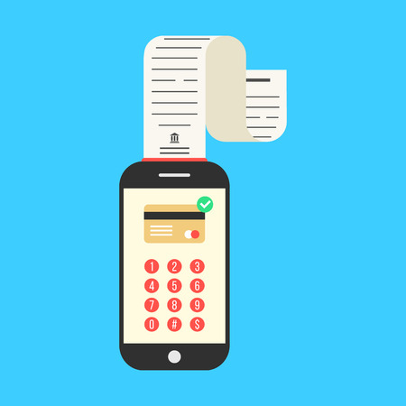 paycheck: smartphone with cash-memo or paycheck on blue background. concept of shopping, innovations, nfc, retail, sale processing, debit, apple pay, profit. flat style trendy modern design vector illustration