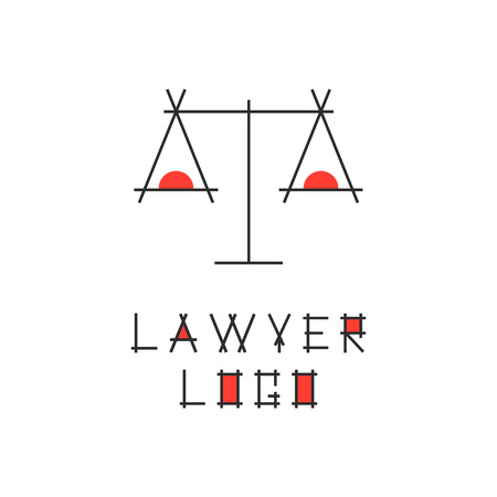 judging: lawyer logotype with abstract scales. concept of judging, law firm, legal company, jurisprudence, legist, verdict. isolated on white background. flat style modern brand design vector illustration