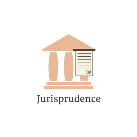 attorney: lawyer logotype with greek colonnade. concept of judging, law firm, legal company, jurisprudence, legist, verdict. isolated on white background. flat style modern brand design vector illustration Illustration