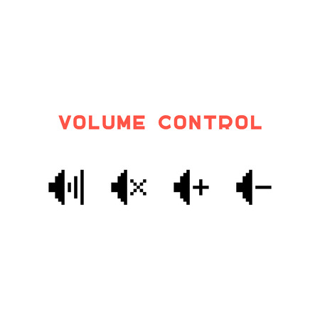 controlling: volume control set in pixel art. concept of 8 bit videogame, indicator, sound controlling, user interface. isolated on white background. pixelart style trendy modern logo design vector illustration