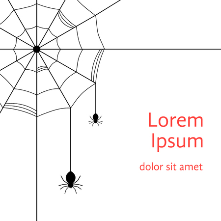 arachnophobia: black cobweb with spiders. concept of arachnophobia, arachnology, all hallows eve, gothic decoration postcards. isolated on white background. flat style trendy modern design vector illustration