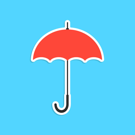 resistant: red umbrella sticker isolated on blue background. concept of thunderstorm, gingham, single pictogram, overcast and cloudy. flat style trendy modern logo design eps10 vector illustration