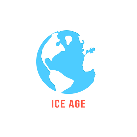 ice age: ice age with blue planet earth. concept of global warming, disaster ecocatastrophe, cenozoic era, glacial period. isolated on white background. flat style trendy modern logo design vector illustration Illustration