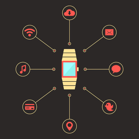 wireles: golden smart watches with social media icons. concept of mobile shopping payment, e-commerce, global service, transaction. isolated on dark background. flat style trendy design vector illustration Illustration