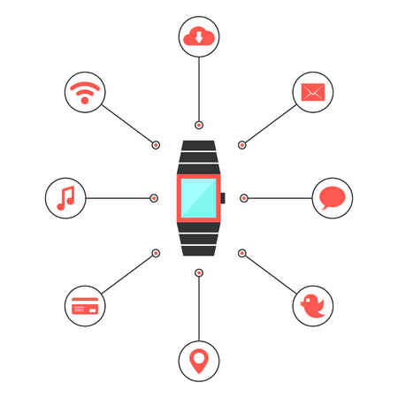 wireles: smart watches with social media icons. concept of mobile shopping payment, e-commerce, global service, transaction. isolated on white background. flat style trendy modern design vector illustration