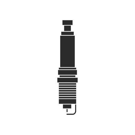 spare: black and white spark-plug icon. concept of service station, spare parts, automotive components, car repair. isolated on white background. flat style trendy modern logotype design vector illustration