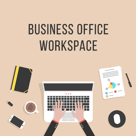 distant work: business office workspace with laptop. concept of teamwork, audit, coworking center, freelancer, distant work, planning, mock up, consulting. flat style trendy modern design  Illustration