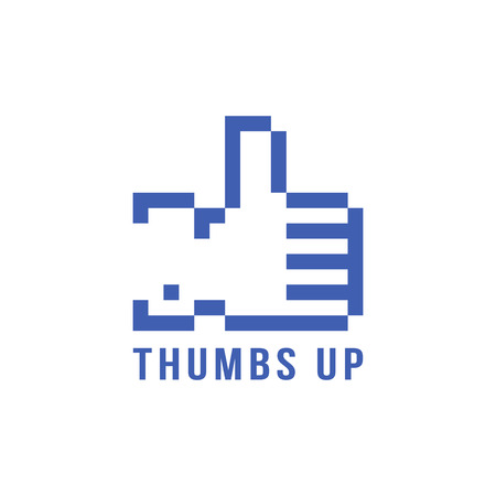 retro pix element thumbs up icon. concept of 8bit video game, social network, blogging, confirmation. isolated on white background. pixelart style trendy modern logotype design