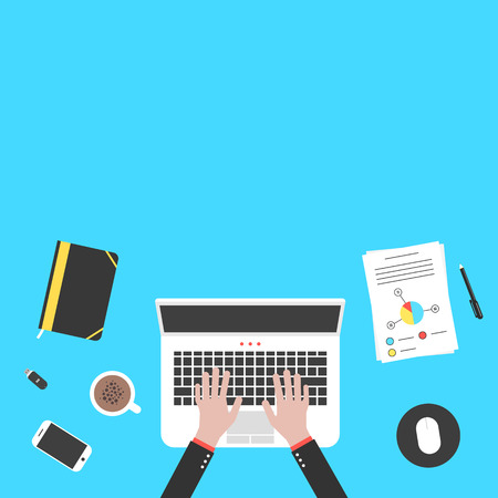 distant work: hands and office objects on blue desk top. concept of teamwork, audit, coworking center, freelancer, distant work. isolated on blue background. flat style trendy modern design vector illustration