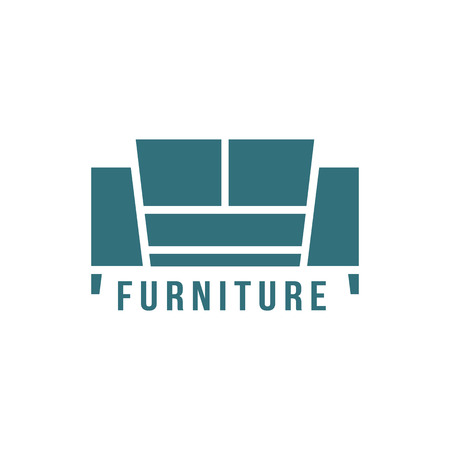 vintage furniture: furniture logotype with green sofa icon. concept of store shop or salon mark, corporate stamp, manufacturing. isolated on white background. flat style trendy modern brand design vector illustration