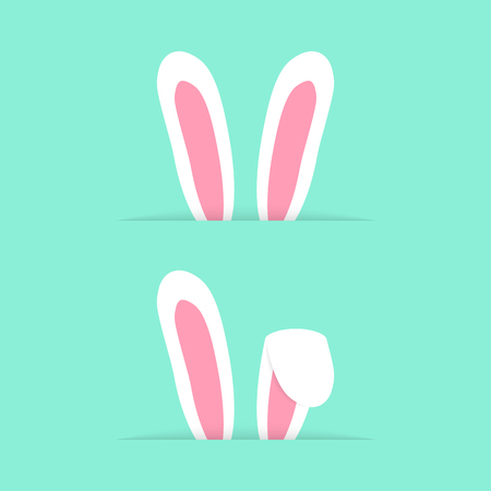 ears: two pairs rabbit ears like happy easter. concept of design element, website banner, postcard decor, furry mammal. isolated on green background. flat style trendy modern eps10 vector illustration Illustration