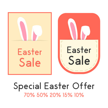 pricetag: special easter offer with two sale card. concept of shopping, marketing, special presentation, retail, pricetag. isolated on white background. flat style trendy modern design vector illustration