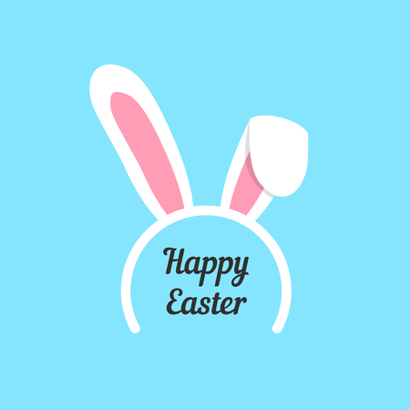 bunny rabbit: happy easter with rabbit ears mask. concept of children wear, graphic template, tradition, retro art, jackrabbit. isolated on blue background. flat style trendy modern logo design vector illustration