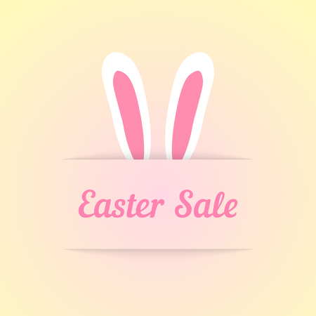 profitable: easter sale with ears in pocket. concept of special offer, shopping, marketing ploy, profitable proposition. isolated on cream background. flat style trendy modern design eps10 vector illustration