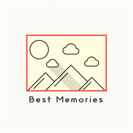photoalbum: best memories photoframe on the notebook sheet. concept of family photoarchiv, memorial dates, photoalbum. isolated on stylish background. flat style trendy modern logo design vector illustration