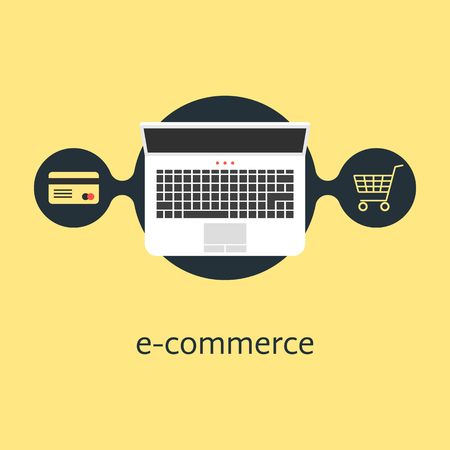 ecommerce with credit card laptop and shopping cart. concept of merchant, finance, banking, on-line supermarket. isolated on yellow background. flat style trendy modern design vector illustration Illustration