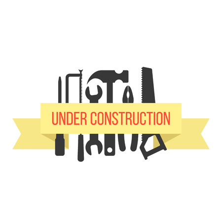 refit: under construction on yellow ribbon with black tools. concept of industry, signboard, engineering problem, refit. isolated on white background. flat style trendy modern logo design vector illustration
