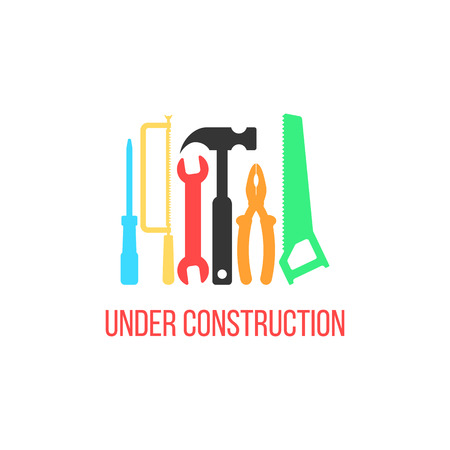 construction sign: under construction logotype with colored tools. concept of industry, signboard, engineering problem, refit. isolated on white background. flat style trendy modern logo design vector illustration Illustration