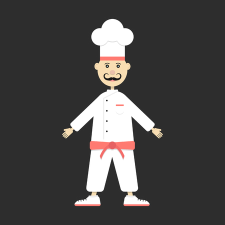 appetite: chef isolated on black background. concept of bon appetite, culinary, chief, haute cuisine, figure, personage, caterers, food master. flat style trendy modern design eps10 vector illustration