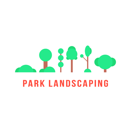 beautification: park landscaping with trees and bushes. concept of beautification, mapping, urban furnishings, shrubbery, cityscape greenery, botany, village. flat style trendy modern design vector illustration