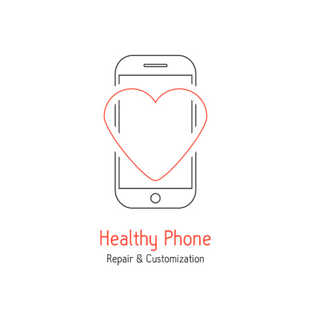 recover: healthy phone branding with red line heart. concept of tech problem, recover, service centre, technician test, equipment. isolated on white background. flat style modern design vector illustration