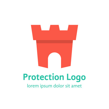 fortress: protection branding with red fortress. concept of company mark, defense archway, antivirus, bank logotype, fortification, citadel, museum, prison, antique. flat style modern design vector illustration