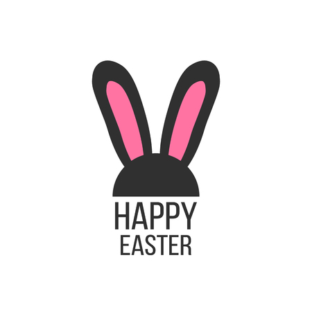 pink rabbit: black and pink rabbit ears icon. concept of festival, children feast, surprise, festive masquerade, merriment. isolated on white background. flat style trendy modern logo design vector illustration