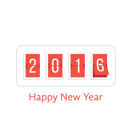 flipboard: happy new year with 2016 scoreboard. concept of flipboard numerical, celebrate, 2016 year, 2016 calendar template. isolated on white background. flat style trend modern design vector illustration Illustration