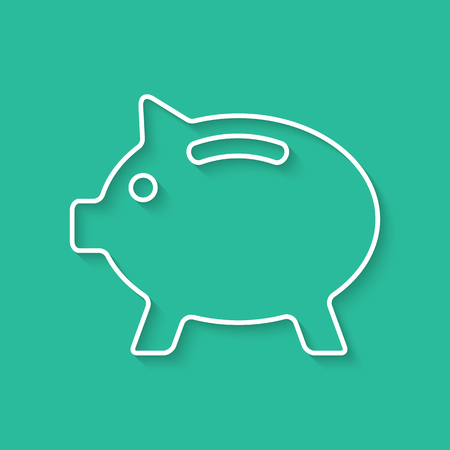 nest egg: white outline piggy bank with shadow. concept of poverty, deposit policy, nest egg, money for a rainy day and thrift. isolated on green background. flat style modern design illustration