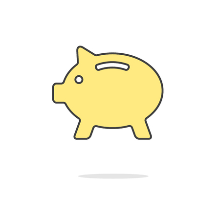 poverty: simple yellow piggy bank icon with shadow. concept of poverty, deposit policy, nest egg, money for rainy day and thrift. isolated on white background. flat style modern design illustration