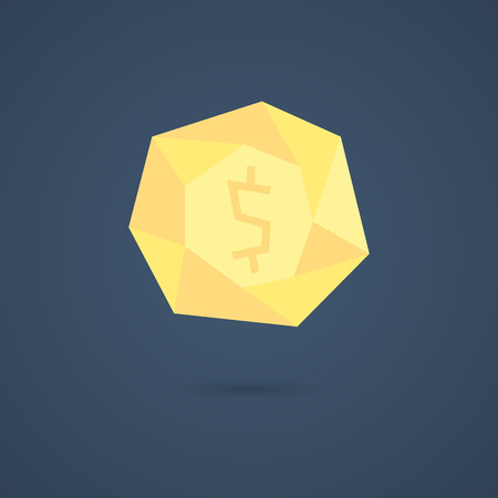 nest egg: yellow polygonal coin with shadow. concept of richness, deposit policy, nest egg, money for rainy day and thrift. isolated on stylish background. flat style modern design illustration