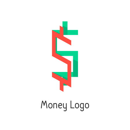abundance of money: money with colored dollar sign. concept of corporate credit, e-commerce, deposit, abundance, economy, usd mark, finance sector. flat style modern design illustration Illustration