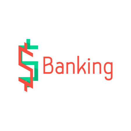 abundance: banking with red and green abstract sign. concept of corporate credit, e-commerce, deposit, abundance, economy, usd mark, finance sector. flat style modern design illustration