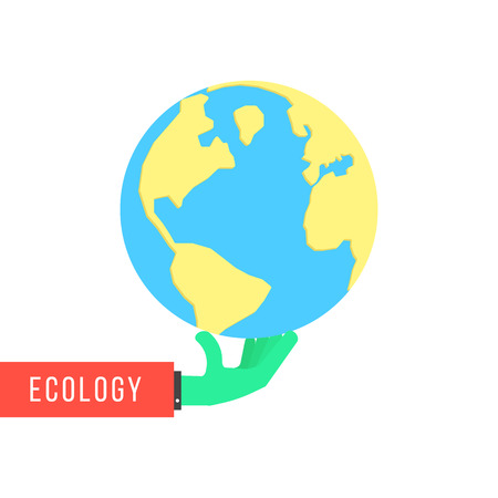 continental: green hand with earth like environmental protection. concept of happy earth day, eco friendly, global warming, continental, humanity, travel, ecosystem. flat style modern design illustration