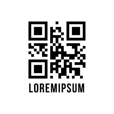 qr code with encrypted text lorem ipsum. concept of pixelart, labyrinth or maze, scanning, sale, checkout. isolated on white background. flat style modern design editable illustration