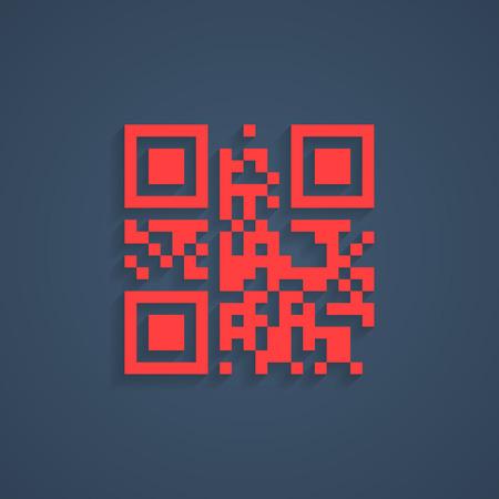 encrypted lorem ipsum text in red qr code. concept of pixelart, labyrinth or maze, scanning, sale, checkout, packaging pictogram, logistics. flat style modern design editable illustration Illustration