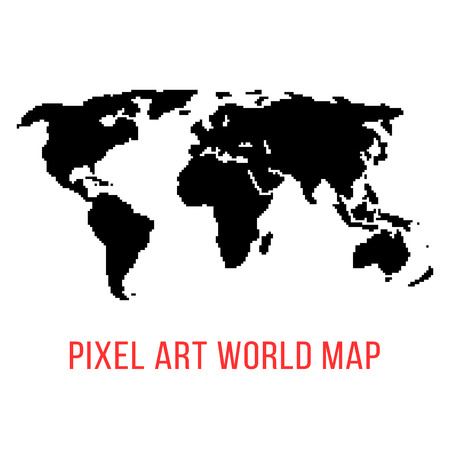 pixelart: black world map in pixel art. concept of locations, 8bit videogame, topography, eurasia, geographica, schooling, wallpaper. isolated on white background. pixelart style modern illustration