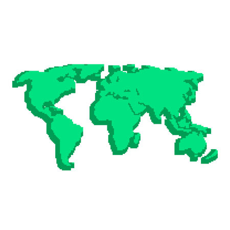 pix: green 3d world map like pix elements. concept of locations, 8bit videogame, topography, geographica, schooling, wallpaper. isolated on white background. pixelart style modern illustration