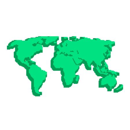 topografia: verde 3d mapa del mundo como elementos pix. concepto de ubicaciones, videojuego de 8 bits, la topografía, Geographica, la escolaridad, fondos de escritorio. aislado sobre fondo blanco. pixelart estilo de ilustración moderna
