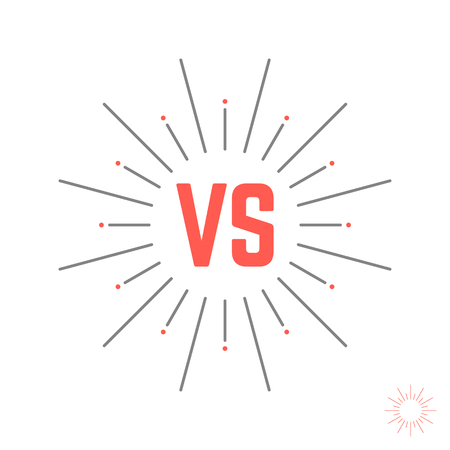 vintage versus emblem like struggle. concept of confrontation retro mark, opposition, together, standoff, final fighting. isolated on white background. style modern design illustration