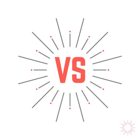 standoff: vintage versus emblem like struggle. concept of confrontation retro mark, opposition, together, standoff, final fighting. isolated on white background. style modern design illustration