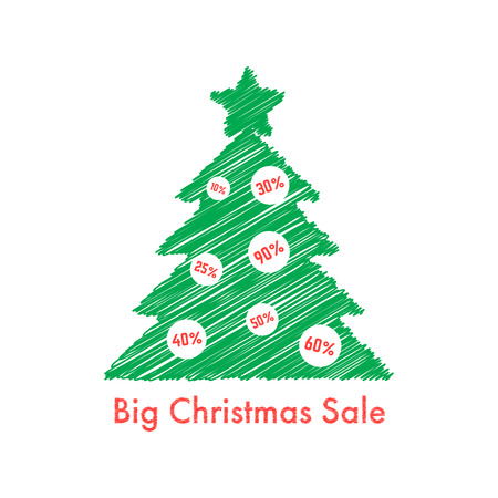 bargain sale: big christmas sale with scribble fir tree. concept of festive, art, bargain sale, special holiday offer. isolated on white background. flat style trend modern design illustration