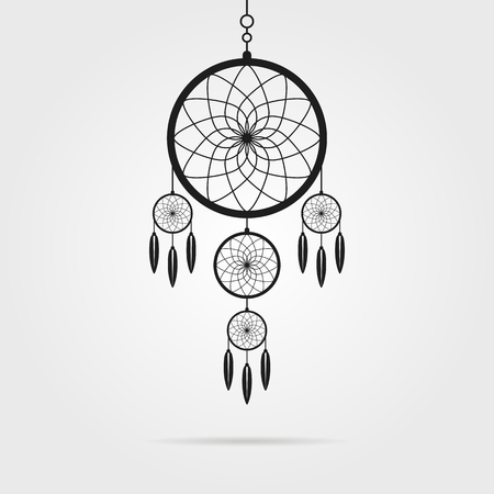 slumber: black dream catcher icon with shadow. concept of handmade, amulet, indigenous religion, slumber, hipster souvenir, nightmare, magical mascot, folk. flat style modern logo design vector illustration
