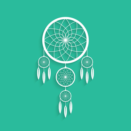 indigenous: white dream catcher with shadow. concept of handmade, amulet, indigenous religion, slumber, hipster souvenir, nightmare, magical mascot, folk. flat style modern  design vector illustration