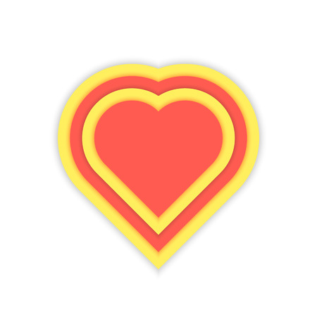 yellow heart: luminous red and yellow heart icon. concept of glamour simbol, happy valentines day, colored decor template, february feast, realistic banner. flat style modern logotype design vector illustration