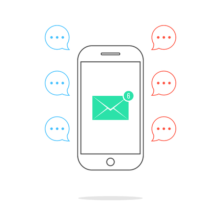 counter service: outline smartphone with colored speech bubbles and email icon. concept of counter notification, messaging, feedback, postal service, texting talking. flat style modern design vector illustration Illustration