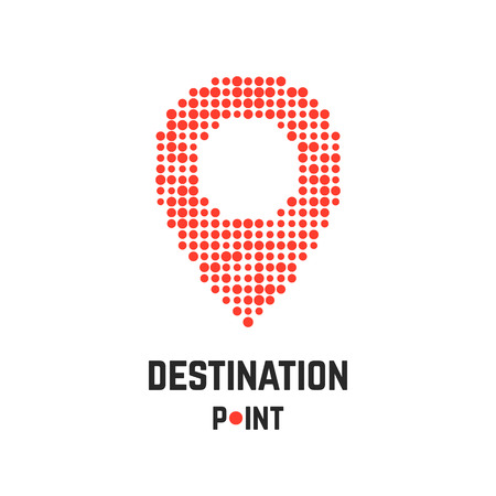 exact: destination point with pin from dots. concept of creative company emblem, exact coordinates, positioning system, cartography, targeting. isolated on white background. flat style modern brand design