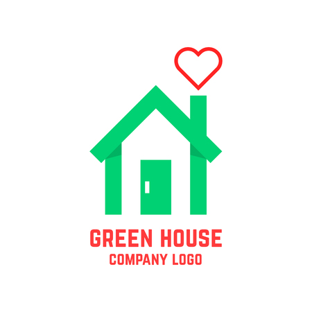 green house with line heart instead of smoke. concept of countryside, insurance, greenhouse, environment, mortgage. isolated on white background. flat style modern branding design vector illustration
